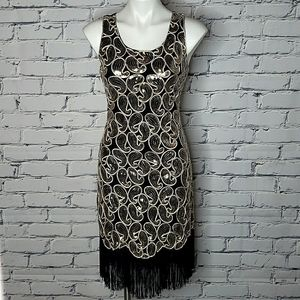 Sequin Paisley Fringed Flapper Dress
